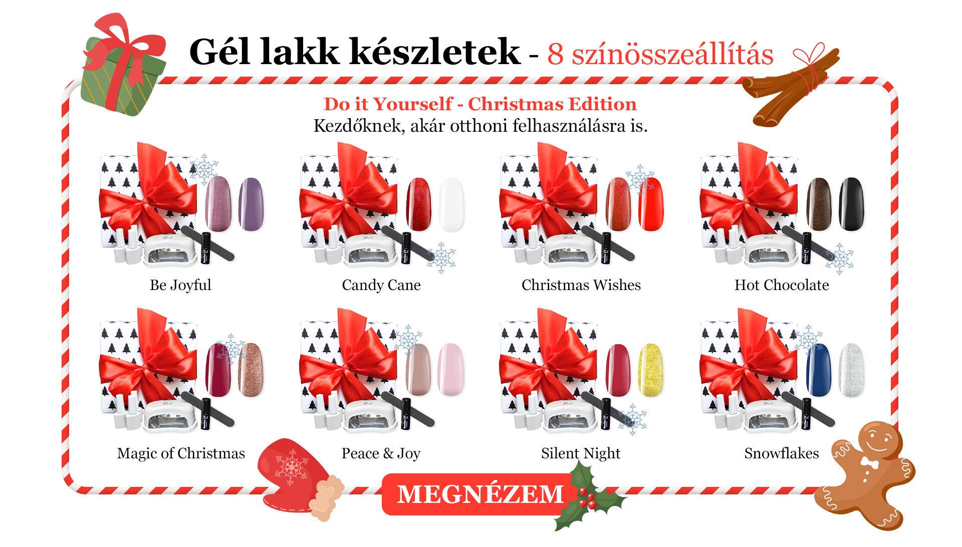 Gél lakk készletek – 8 színösszeállítás Do It Yourself - christmas edition  Kezdőknek, akár otthoni felhasználásra is.