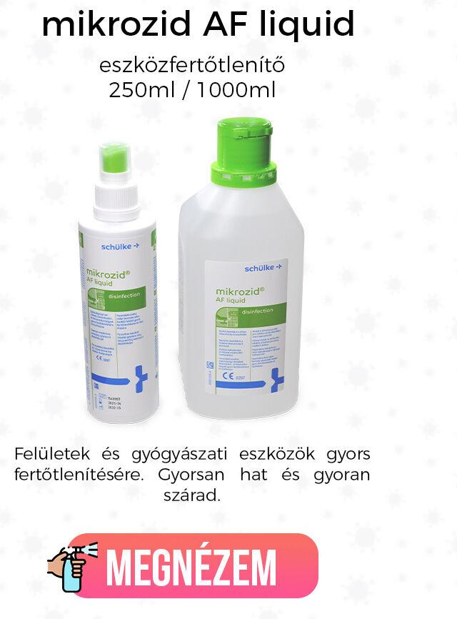 mikrozid AF liquid eszközfertőtlenítő - 250ml / 1000ml Felületek és gyógyászati eszközök gyors fertőtlenítésére. Gyorsan hat és gyoran szárad.