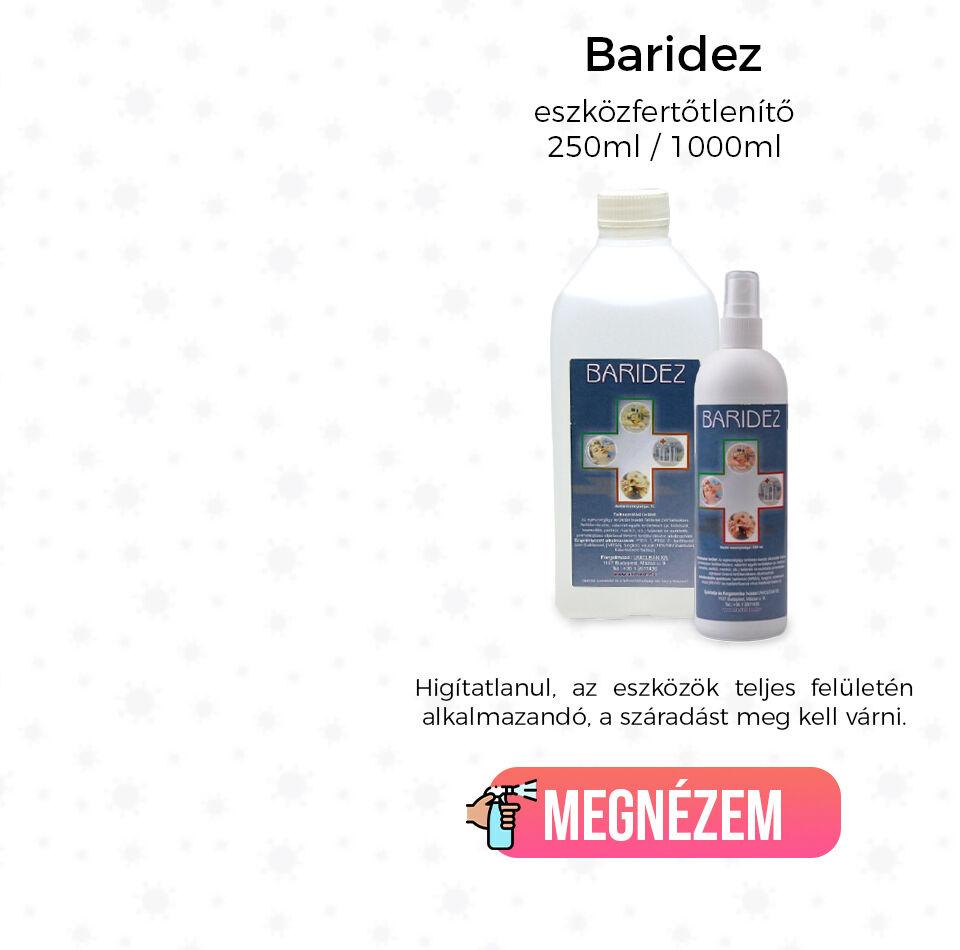 Baridez eszközfertőtlenítő - 250ml / 1000ml Higítatlanul, az eszközök teljes felületén alkalmazandó, a száradást meg kell várni.