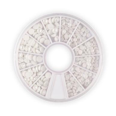 Körömdíszítő tárcsa - törtfehér gyöngy