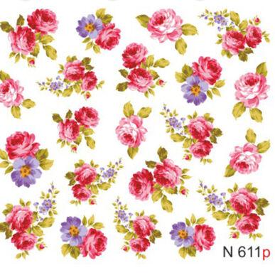 Virágos körömmatrica vizes N611