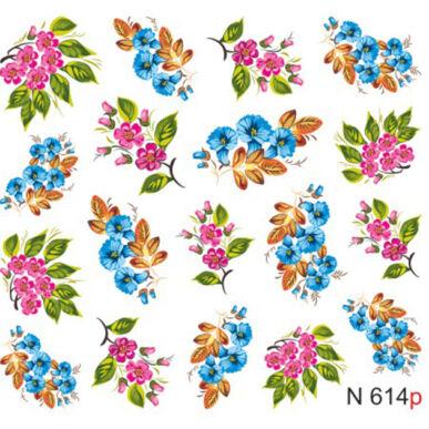 Virágos körömmatrica vizes N614p