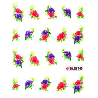 Virágos körömmatrica vizes BLE1745