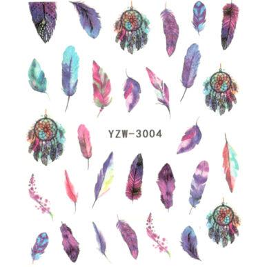 Vizes körömmatrica YZW-3004 bohém tollas