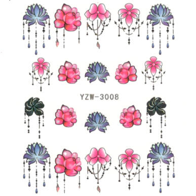 Vizes körömmatrica YZW-3008 bohém tattoo minta